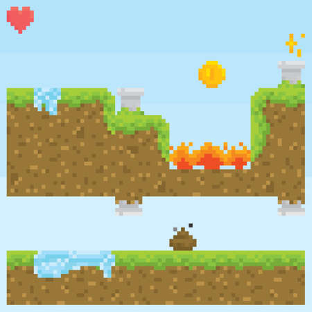Pixel art style game level vector assets objects set Illustration