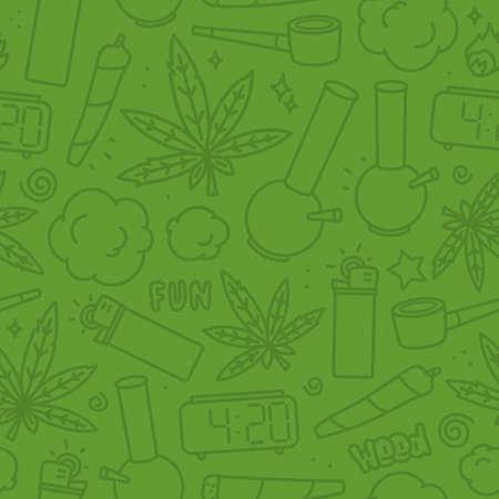 Marijuana weed nature cartoon seamless vector pattern green