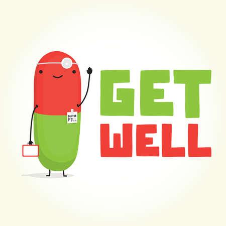 Beterschap met Doctor Pill vectorillustratiekaart
