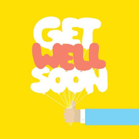 Get well soon balloons vector motivation card