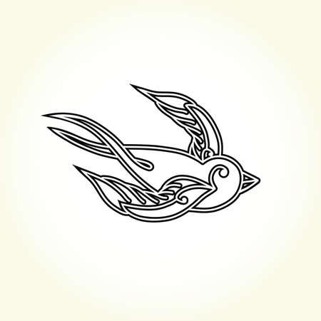 swallow bird: Old school swallow bird tattoo isolated vector Illustration