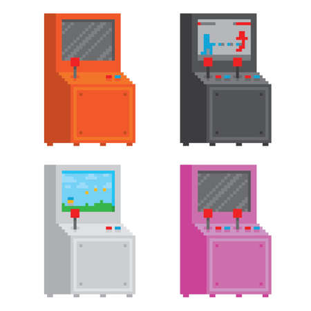 arcade: Pixel art style arcade game cabinet isolated vector set