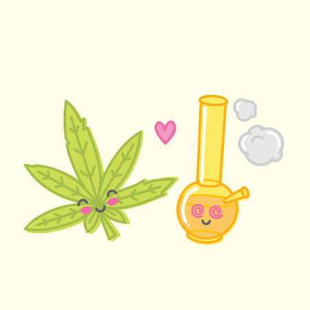 Cartoon kawaii weed love bong vector illustration