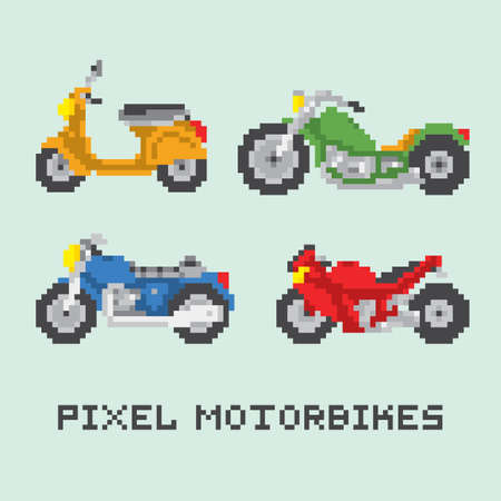 Pixel art style motorbike isolated vector pack