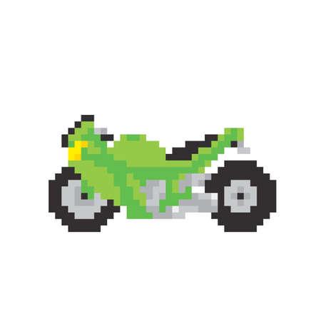 old school bike: Sport motorbike in pixel art style isolated vector