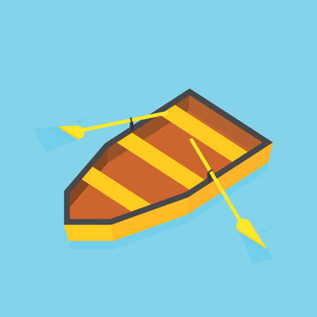 Isometric paddle boat on water vector image Illustration
