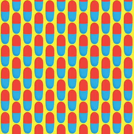 textile care: Red and blue pills vector seamless pattern Illustration