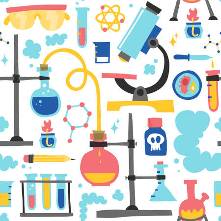 Chemistry hand drawn seamless vector pattern 向量圖像
