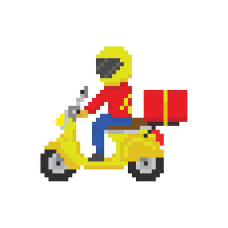 Scooter motorbike fast delivery in pixel art game style