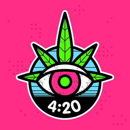 Hipster graphic style cannabis leaf eye vector sticker illustration