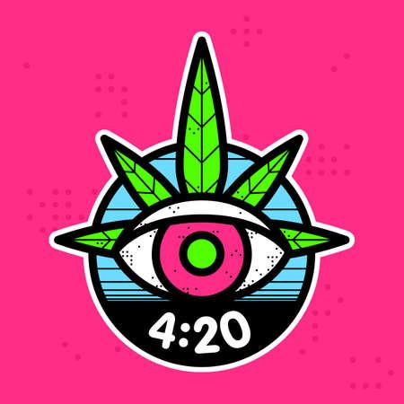 Hipster graphic style cannabis leaf eye vector sticker illustration Illustration