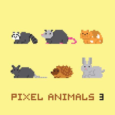 possum: Pixel art style animals cartoon vector set 3 Illustration