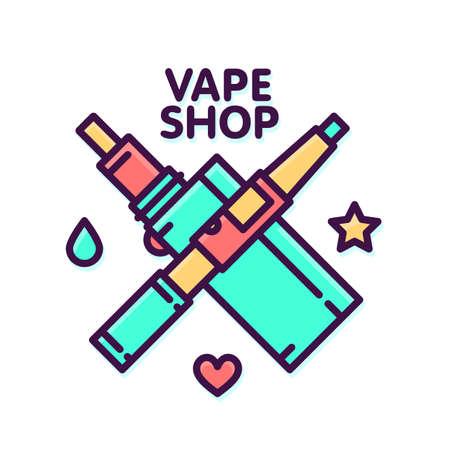 e shop: Vape shop electronic cigarette logo vector template