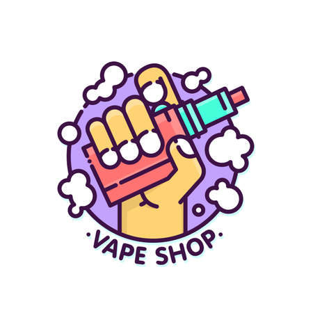 Vape shop cloudy logo vector template in graphic style