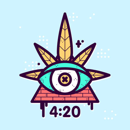 All seeing eye cannabis leaf triangle vector hipster illustration Illustration