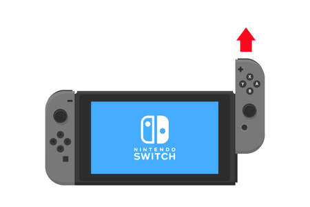handheld device: New York - 13 JAN. Nintendo switch illustration. Video game touch screen console isolated vector.