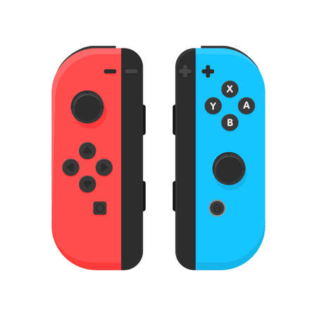 portable console: New York - 13 JAN: Nintendo switch illustration. Video game console joystick isolated vector.