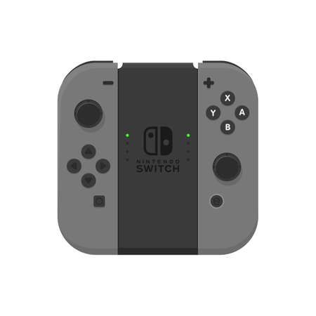 New York - 13 JAN: Nintendo switch illustration. Video game console joystick isolated . Editorial