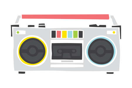 boom box: Old school cassette player cartoon hand drawn style isolated vector illustration