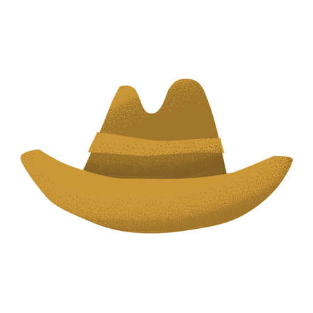 Cartoon style grunge american western cowboy leather brown hat isolated vector illustration on white