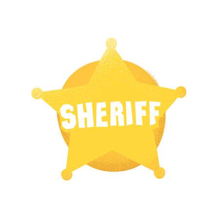 Cartoon style grunge american western sheriff badge isolated vector illustration on white