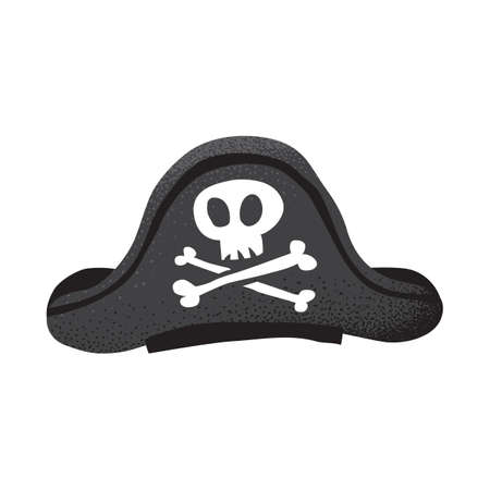 black leather texture: Cartoon style grunge classic pirate leather hat with skull and bones isolated vector illustration on white