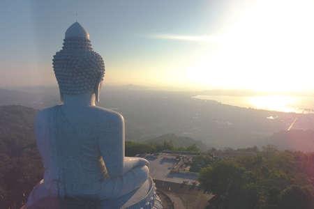 Beautiful Sunrise at White Big Buddha Statue Temple. Phuket, Thailand.