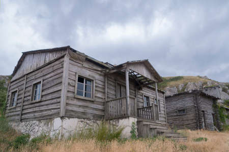 Abandoned Wooden House in Russian Village. Crimea,