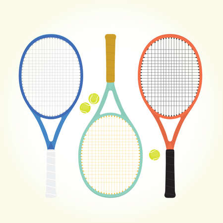 fitness equipment: Tennis rackets and balls isolated vector Illustration
