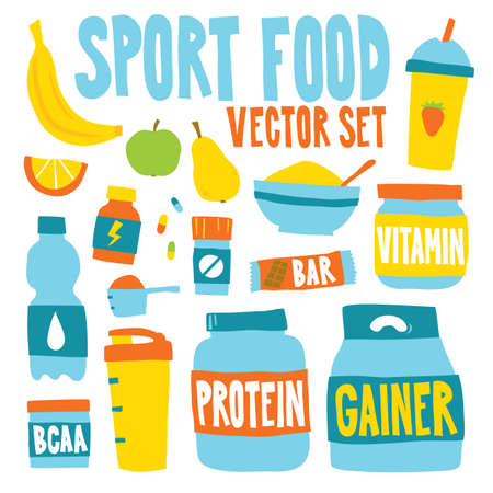 Sport food nutrition objects vector illustration isolated set