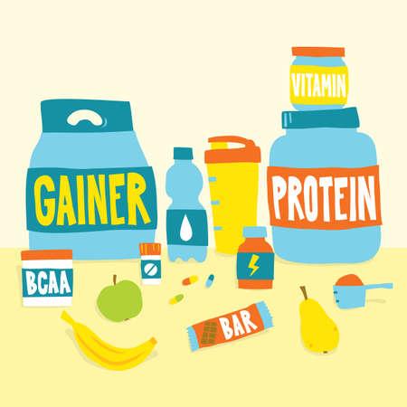 Sport foods nutrition and fruits cartoon vector illustration