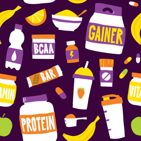 Sport food nutrition seamless vector pattern background purple