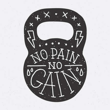 fitness equipment: No pain no gain gym kettle bell vector illustration