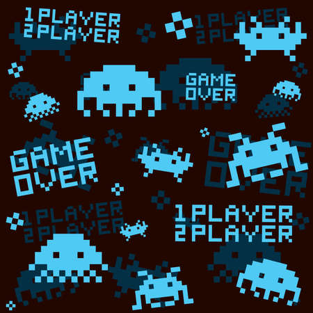 Retro space invaders seamless vector black pattern background