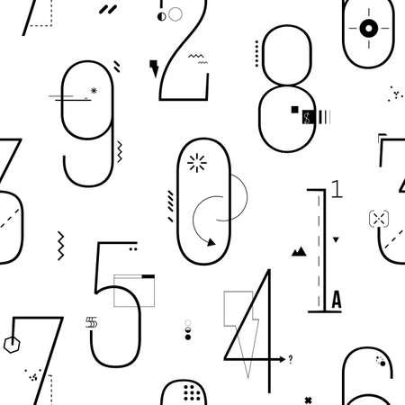 numeric: Geometric Thin Line Art Flat Style Numbers Background. Illustration