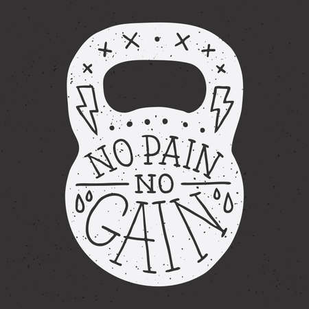 cast: No pain no gain gym kettle bell vector illustration