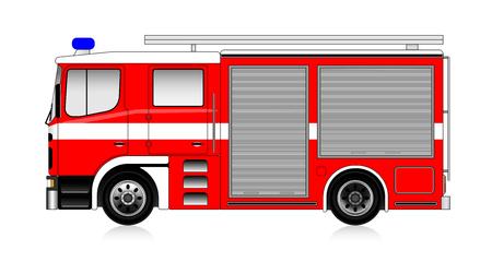 大きな赤い消防車の白で隔離