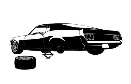 muscle car tire repair in vector