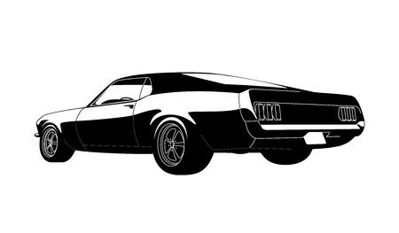 rod sign: vector muscle car Illustration