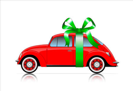 hollyday: compact red car with ribbon Illustration