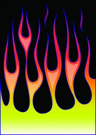 hot rod flambe sur fond noir Vecteurs