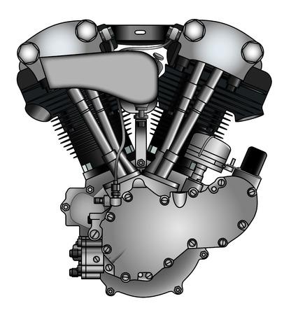 古典的な V ツイン エンジンのオートバイ  イラスト・ベクター素材