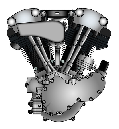 exhaust: classic V-twin motorcycle engine