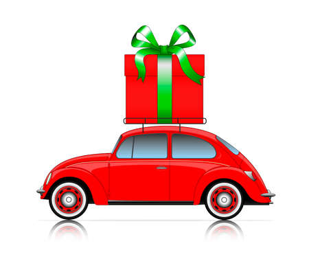 hollyday: red car with present