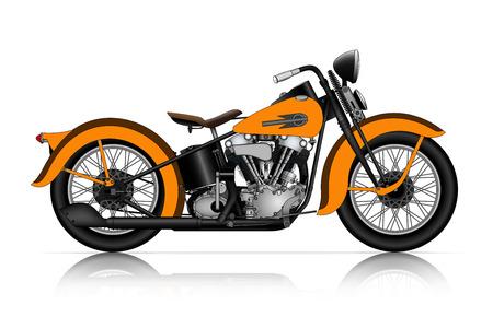 古典的なオートバイの非常に詳細なイラスト  イラスト・ベクター素材