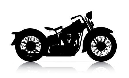 古典的なオートバイの onwhite バック グラウンドのシルエット