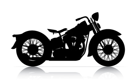 silhouette of classic motorcycle onwhite back ground Stock Photo