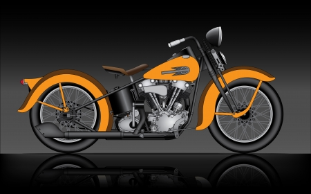 classic motorcycle on black  Vector