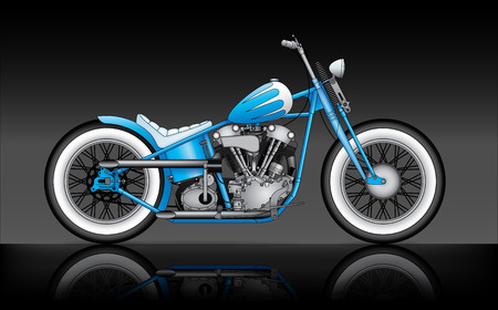 two car garage: blue custom bobber on black background
