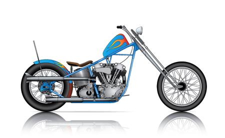 blue custom chopper on white background Ilustração